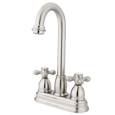 Double Handle Centerset Bar Faucet with Metal Cross Handles Finish: Satin Nickel