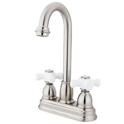 Porcelain Cross Double Handle Kitchen Faucet Finish: Satin Nickel