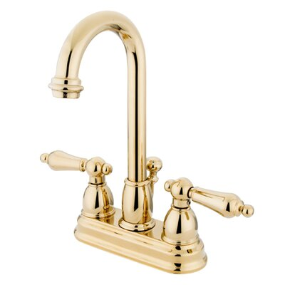 Restoration Centerset Double Handle Bathroom Faucet with Drain Assembly Finish: Polished Brass