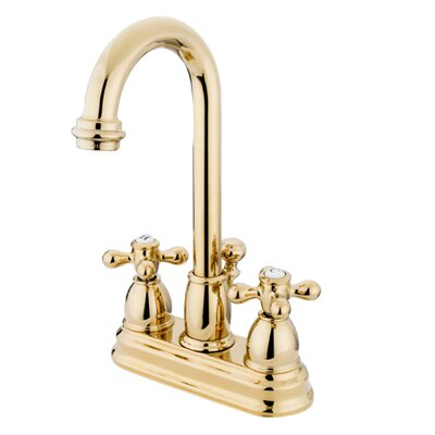 Centerset Bathroom Faucet with Double Cross Handles Finish: Polished Brass