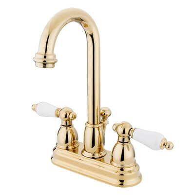 Centerset Bathroom Faucet with Double Porcelain Lever Handles Finish: Polished Brass