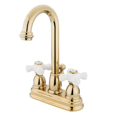 Centerset Bathroom Faucet with Double Porcelain Cross Handles Finish: Polished Brass
