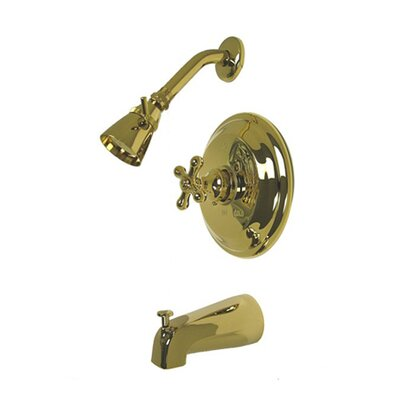 Vintage Thermostatic Pressure Balanced Tub and Shower Faucet with Metal Cross Handles Finish: Polished Brass