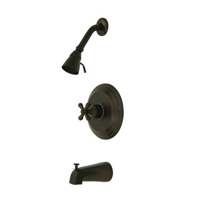Vintage Thermostatic Pressure Balanced Tub and Shower Faucet with Metal Cross Handles Finish: Oil Rubbed Bronze