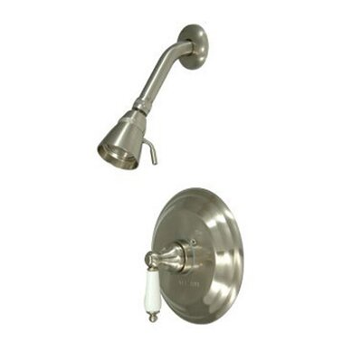Vintage Pressure Balanced Shower Head and Valve with Porcelain Lever Handles Finish: Satin Nickel