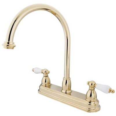 Double Handle Centerset Kitchen Faucet with Porcelain Lever Handles Finish: Polished Brass