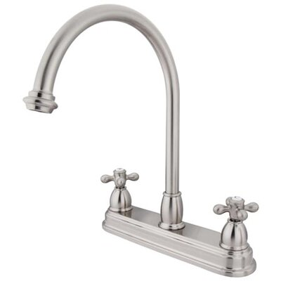 Double Handle Centerset Kitchen Faucet with Metal Cross Handles Finish: Satin Nickel