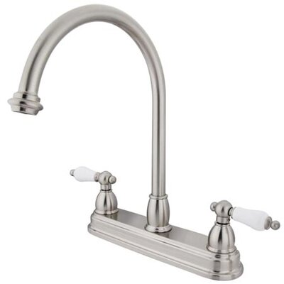 Double Handle Centerset Kitchen Faucet with Porcelain Lever Handles Finish: Satin Nickel