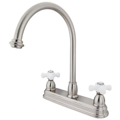 Double Handle Centerset Kitchen Faucet with Porcelain Cross Handles Finish: Satin Nickel