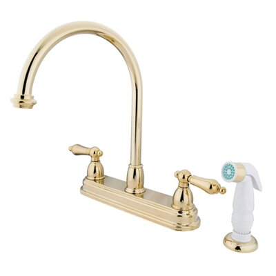 Deck Touchless Double Handle Kitchen Faucet with Side Spray Finish: Polished Brass