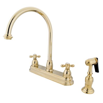 Restoration Deck Mount Double Handle Centerset Kitchen Faucet with Metal Cross Handles Finish: Polished Brass