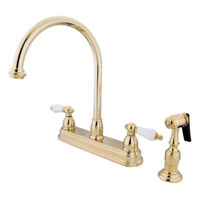 Restoration Deck Mount Double Handle Centerset Kitchen Faucet with Porcelain Lever Handles and Side Spray Finish: Polished Brass