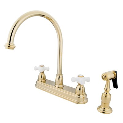 Restoration Deck Mount Double Handle Centerset Kitchen Faucet with Porcelain Cross Handles and Side Spray Finish: Polished Brass