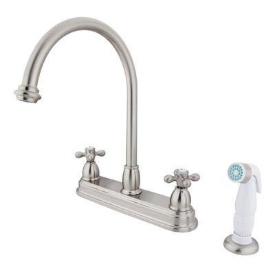 Deck Mount 8 Double Handle Centerset Kitchen Faucet with Metal Cross Handles Finish: Satin Nickel