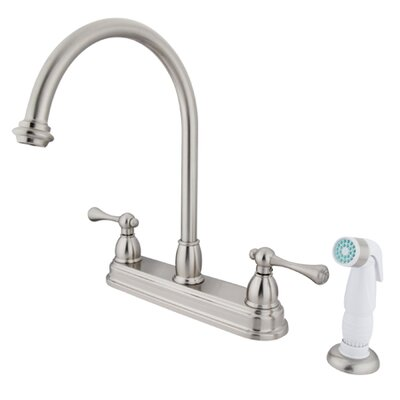 Vintage Deck Mount Two Handle Centerset Kitchen Faucet with Buckingham Lever Handles Finish: Satin Nickel
