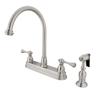 Vintage Deck Mount Double Handle Centerset Kitchen Faucet with Buckingham Lever Handles Finish: Satin Nickel