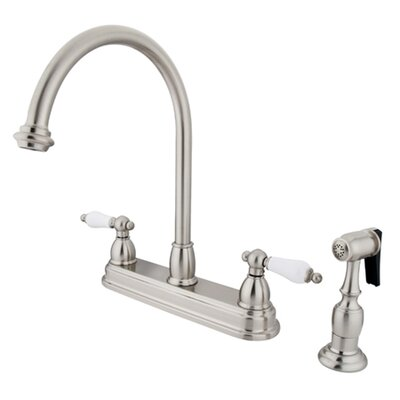 Restoration Deck Mount Double Handle Centerset Kitchen Faucet with Porcelain Lever Handles and Side Spray Finish: Satin Nickel