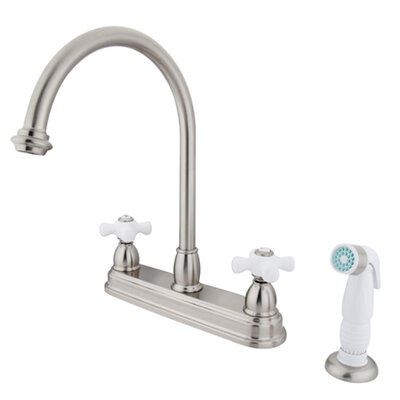 Deck Mount 8 Double Handle Centerset Kitchen Faucet with Porcelain Cross Handles Finish: Satin Nickel