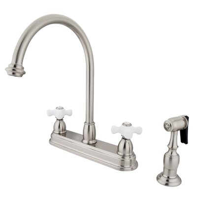 Restoration Deck Mount Double Handle Centerset Kitchen Faucet with Porcelain Cross Handles and Side Spray Finish: Satin Nickel