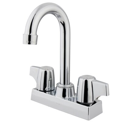 Double Handle Centerset Bar Faucet with Franklin Canopy Handle Finish: Polished Chrome