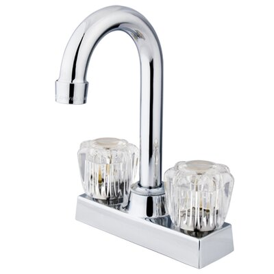 Double Handle Centerset Bar Faucet with Acrylic Handles Finish: Polished Chrome