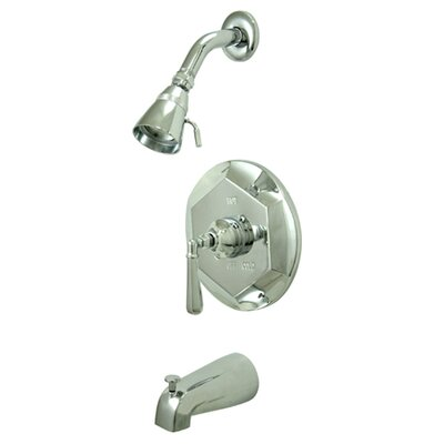 Volume Control Tub and Shower Faucet with Concord Lever Handles Finish: Satin Nickel