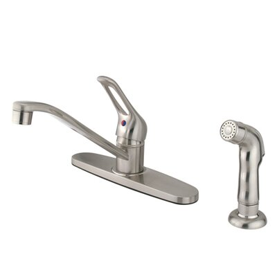 Single Handle Centerset Kitchen Sink Faucet with Loop Handle Finish: Satin Nickel