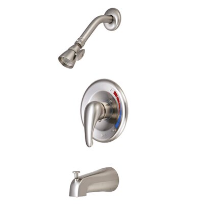 Diverter Tub and Shower Faucet with Metal Lever Handles Finish: Satin Nickel