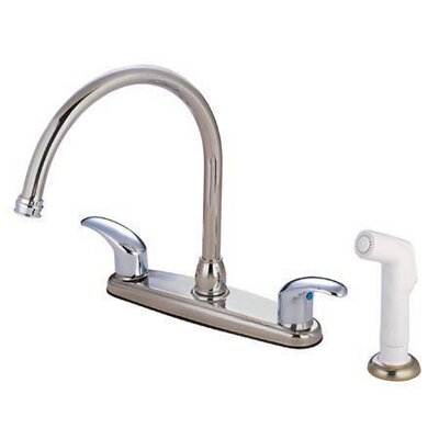 Daytona Centerset Kitchen Faucet with Double Lever Handles Finish: Satin Nickel/Polished Chrome