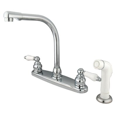 Victorian Double Handle Centerset High Arch Kitchen Faucet with Porcelain Lever Handles and Plastic Side Spray Finish: Satin Nickel/Polished Chrome