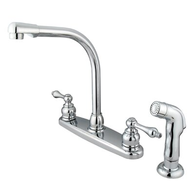 Victorian Double Handle Centerset High Arch Kitchen Faucet with Metal Lever Handles and Plastic Side Spray Finish: Polished Chrome
