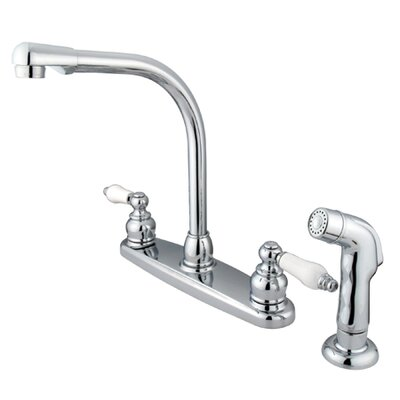 Victorian Double Handle Centerset High Arch Kitchen Faucet with Porcelain Lever Handles and Side Spray Finish: Polished Chrome
