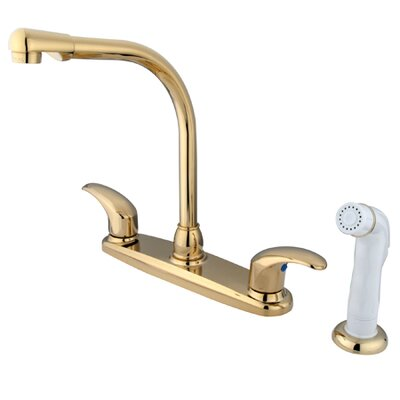 Victorian Double Handle Centerset High Arch Kitchen Faucet with Legacy Lever Handles Finish: Polished Brass