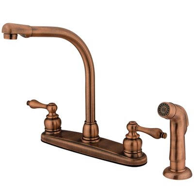Victorian Double Handle Centerset High Arch Kitchen Faucet with Metal Lever Handles and Plastic Side Spray Finish: Vintage Brass