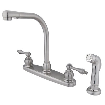 Victorian Double Handle Centerset High Arch Kitchen Faucet with Metal Lever Handles and Plastic Side Spray Finish: Satin Nickel