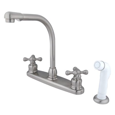 Victorian High Arch Double Handle Centerset Kitchen Faucet with Metal Cross Handles and White Side Spray Finish: Satin Nickel/Polished Chrome