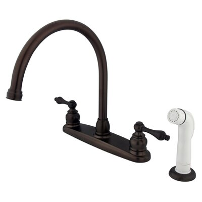 Victorian Double Handle Centerset Goose Neck Kitchen Faucet with Metal Lever Handles and White Side Spray Finish: Oil Rubbed Bronze