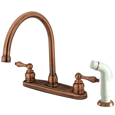 Victorian Double Handle Centerset Goose Neck Kitchen Faucet with Metal Lever Handles and White Side Spray Finish: Antique Copper