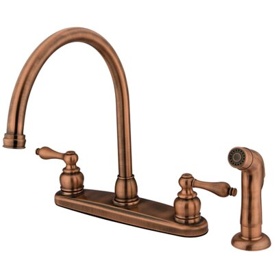 Victorian Double Handle Centerset Goose Neck Kitchen Faucet with Metal Lever Handles and Plastic Side Spray Finish: Oil Rubbed Bronze