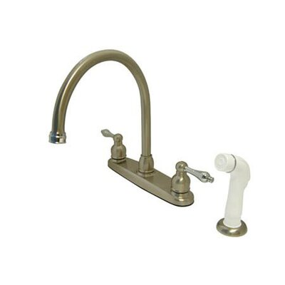 Victorian Double Handle Centerset Goose Neck Kitchen Faucet with Metal Lever Handles and White Side Spray Finish: Satin Nickel