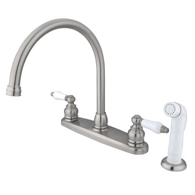 Victorian Double Handle Centerset Goose Neck Kitchen Faucet with Porcelain Lever Handles and White Side Spray Finish: Satin Nickel/Polished Chrome
