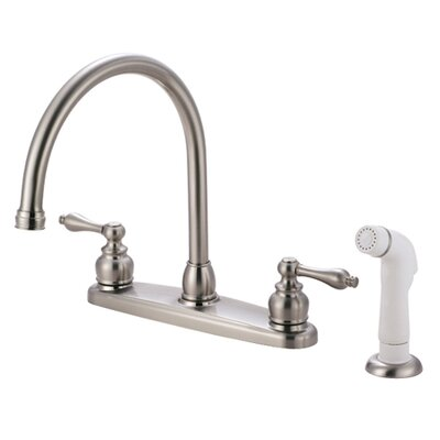 Victorian Double Handle Centerset Goose Neck Kitchen Faucet with Metal Lever Handles and White Side Spray Finish: Satin Nickel/ Polished Chrome