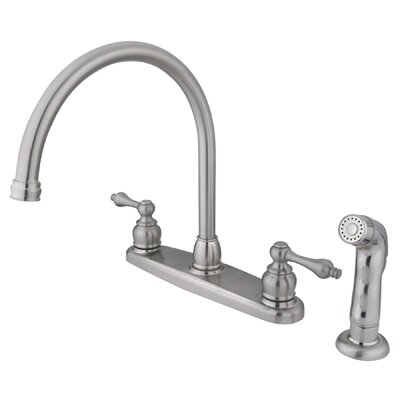 Victorian Double Handle Centerset Goose Neck Kitchen Faucet with Metal Lever Handles and Plastic Side Spray Finish: Satin Nickel