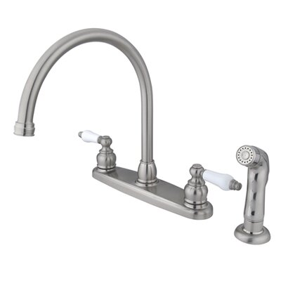 Victorian Double Handle Centerset Goose Neck Kitchen Faucet with Porcelain Lever Handles and Plastic Side Spray Finish: Satin Nickel