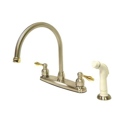 Victorian Double Handle Centerset Goose Neck Kitchen Faucet with Metal Lever Handles and White Side Spray Finish: Satin Nickel/ Polished Brass