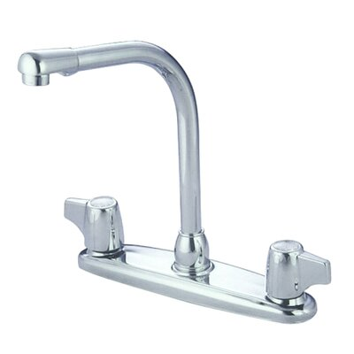 Double Handle Centerset Kitchen Faucet with Franklin Canopy Handles Side Spray: Without Side Spray