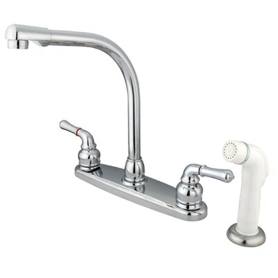 Magellan Double Handle Centerset Kitchen Faucet with Modern Lever Handles and White Side Spray Finish: Polished Chrome