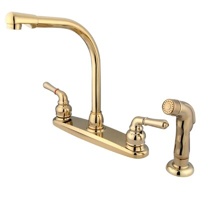 Magellan Double Handle Centerset Kitchen Faucet Finish: Polished Brass