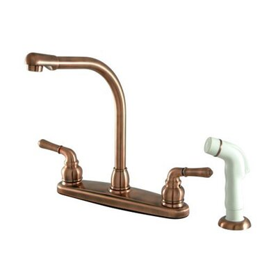 Magellan Double Handle Centerset Kitchen Faucet with Modern Lever Handles and White Side Spray Finish: Antique Copper