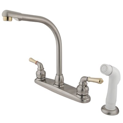 Magellan Double Handle Centerset Kitchen Faucet with Modern Lever Handles and White Side Spray Finish: Satin Nickel/Polished Brass